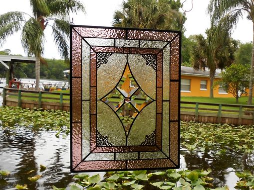 Custom Made Vintage Look Stained Glass Window Panel, Textured & Beveled Glass Art, Traditional Stained Glass