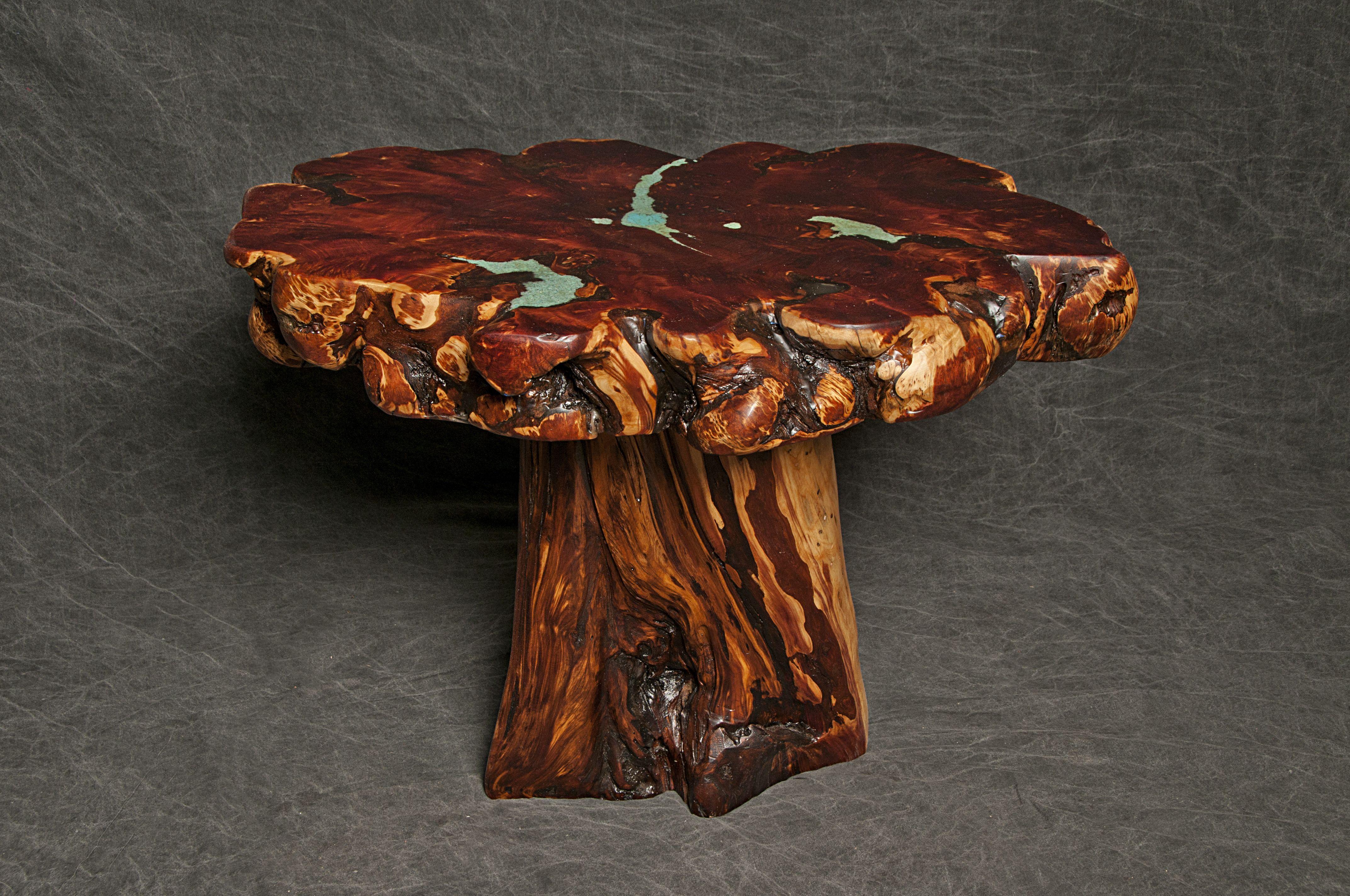 Buy A Custom Cedar Burl End Table With Turquoise Inlay