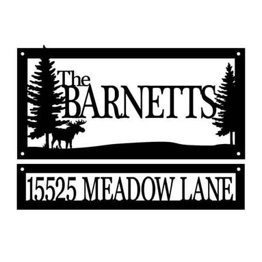 Custom Made Custom Family Name And Address Metal Signs | Moose