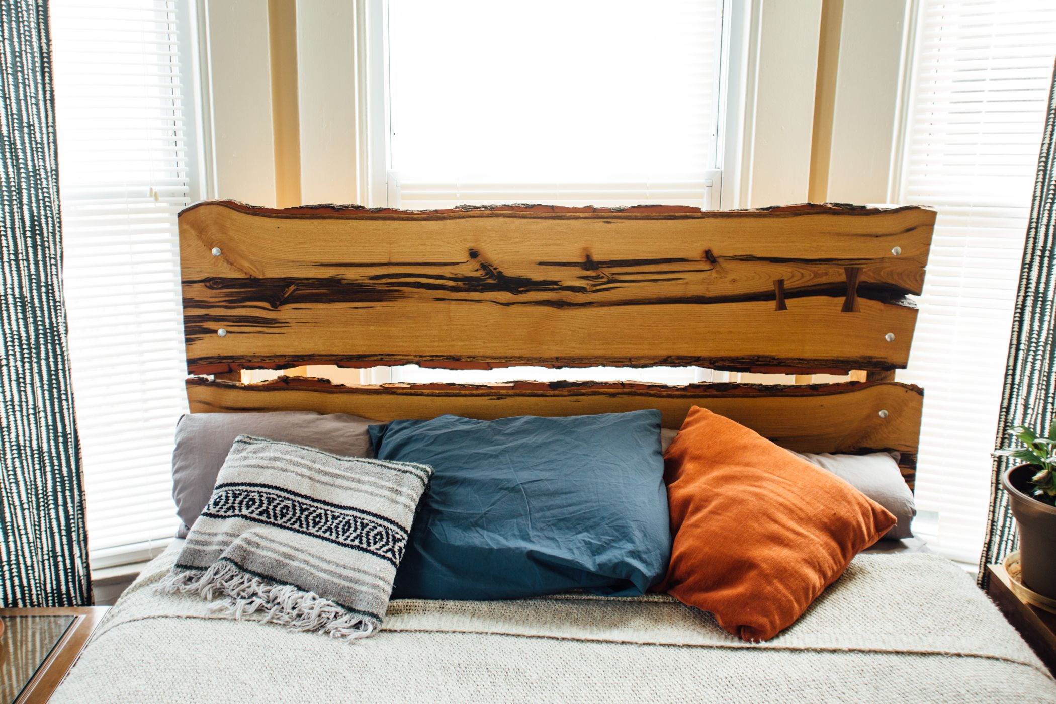 Hand Crafted Live Edge Wood Headboard And Bed Frame