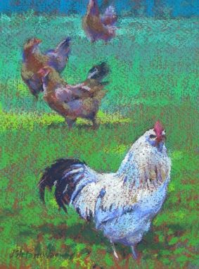Custom Made Animal Painting Of Chickens And Roosters In A Field - Pastel, 6 X 9 Inches