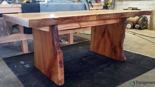 Custom Made Custom 2-Slab Live Edge Sycamore Dining Table With Slab Legs