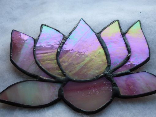 Custom Made Iridescent Pink Stained Glass Lotus Flower