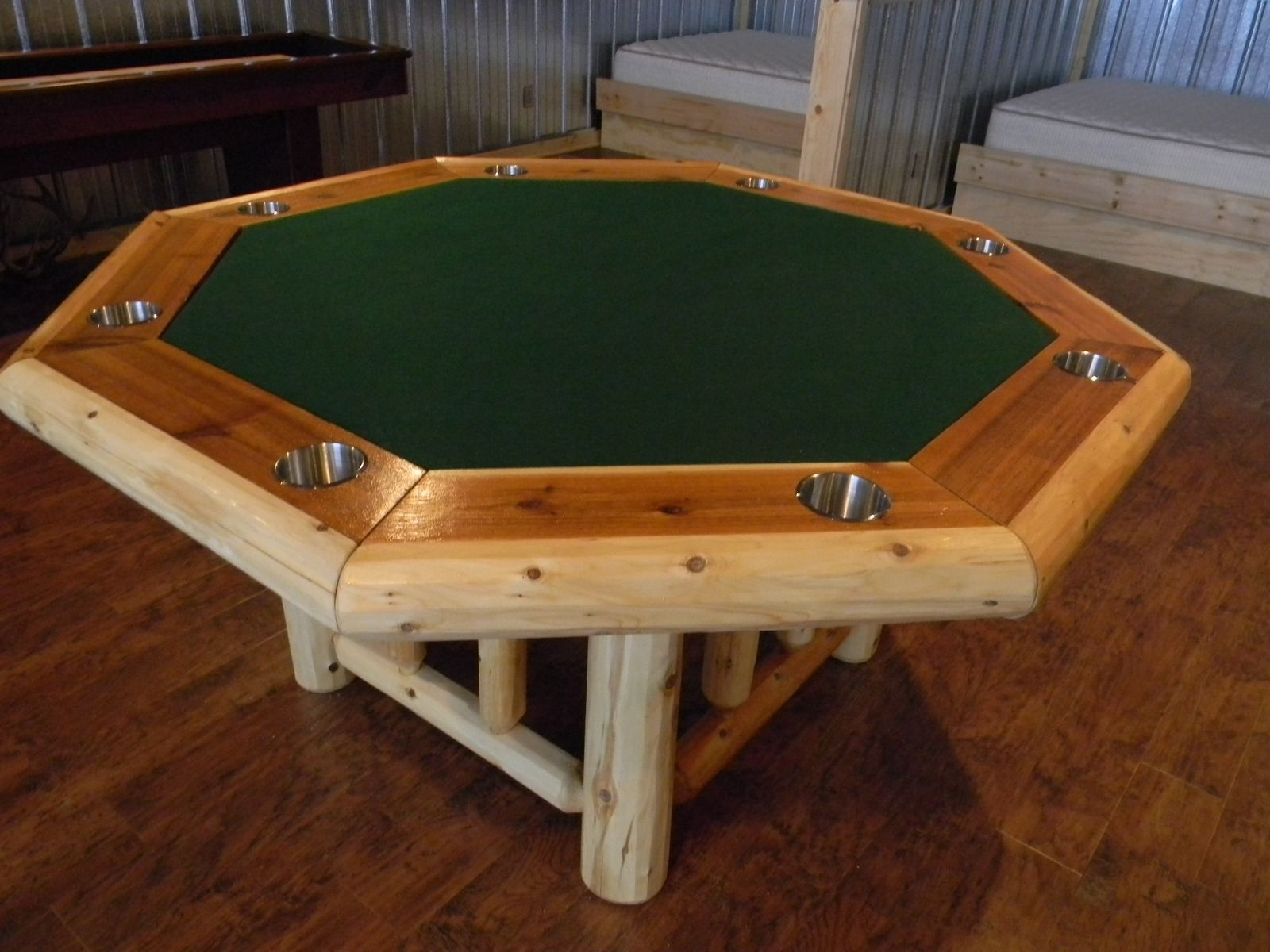 Hand crafted cedar log poker table by backwoods casual custom made cedar log poker table geotapseo Image collections