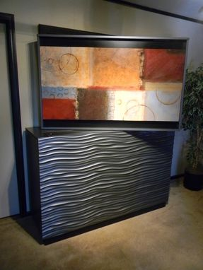 Custom Made Modern Wave Tv-Lift Console With Swivel