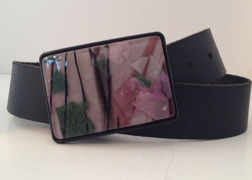 Custom Made Pink, Green And Black Confetti Fused Glass Belt Buckle