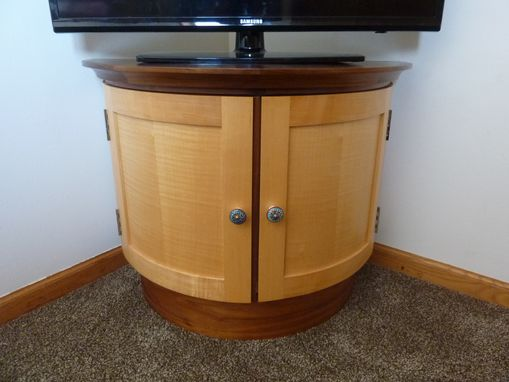 Custom Made Walnut And Maple Semicircular Cupboard
