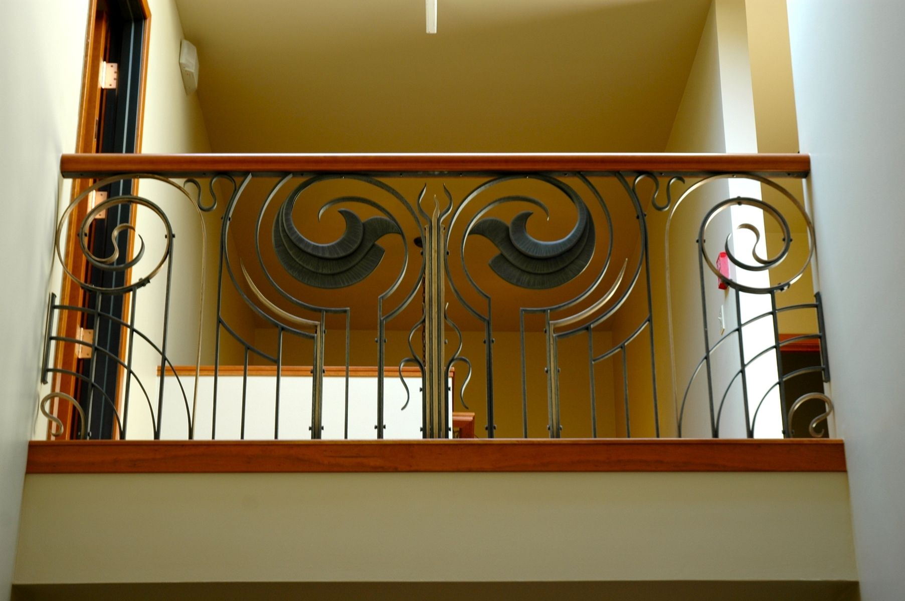 Custom Made Forged Art Deco Style Railing With Cherry