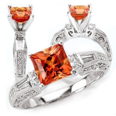 Custom Made *18k Chatham 7mm Princess Cut Padparadscha Orange Sapphire Engagement Ring With Natural Diamonds