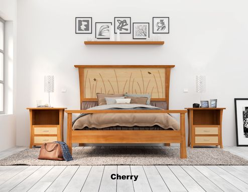 Custom Made Wood Bed Frame, King Size Bed, Headboard, Platform Bed, Cherry And Curly Maple