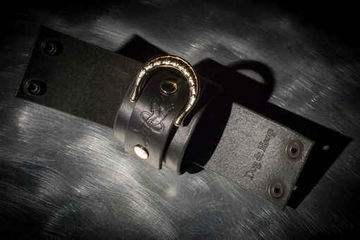 Custom Made Leather Bondage Cuffs - Black Latigo- Ebony & Brass Fasteners