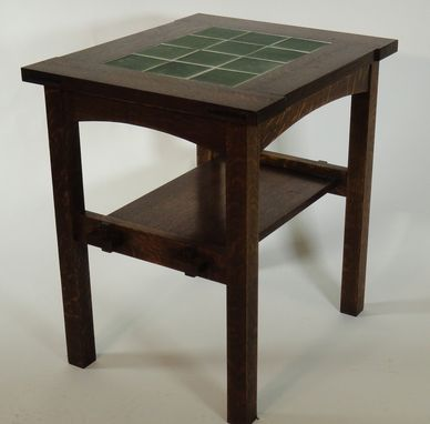 Custom Made Reproduction Stickley 12 Tile Side Table