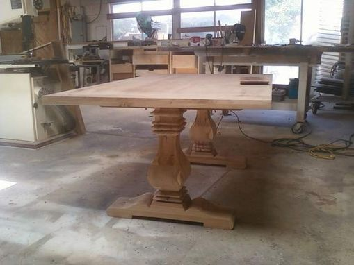 Custom Made Pecan Trestle Table