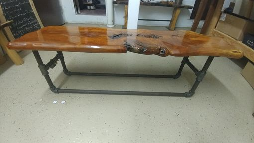 Custom Made Live Edge Cherry Bench With An Industrial Pipe Base.