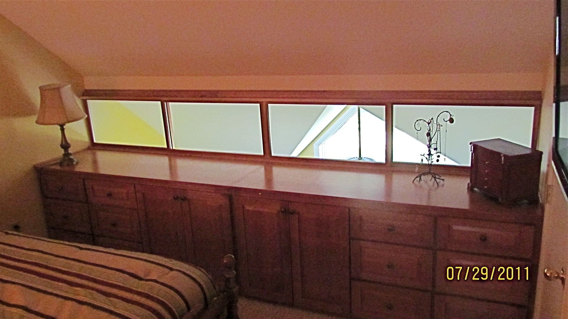 Custom Made Solid Cherry Built In His And Hers Dresser With Sliding Windows. Hand Crafted Solid Cherry Built In His And Hers Dresser With