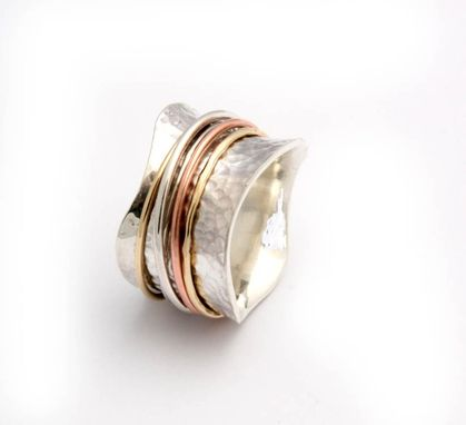 Custom Made Sterling Silver Ring With Copper And Bronze Wire