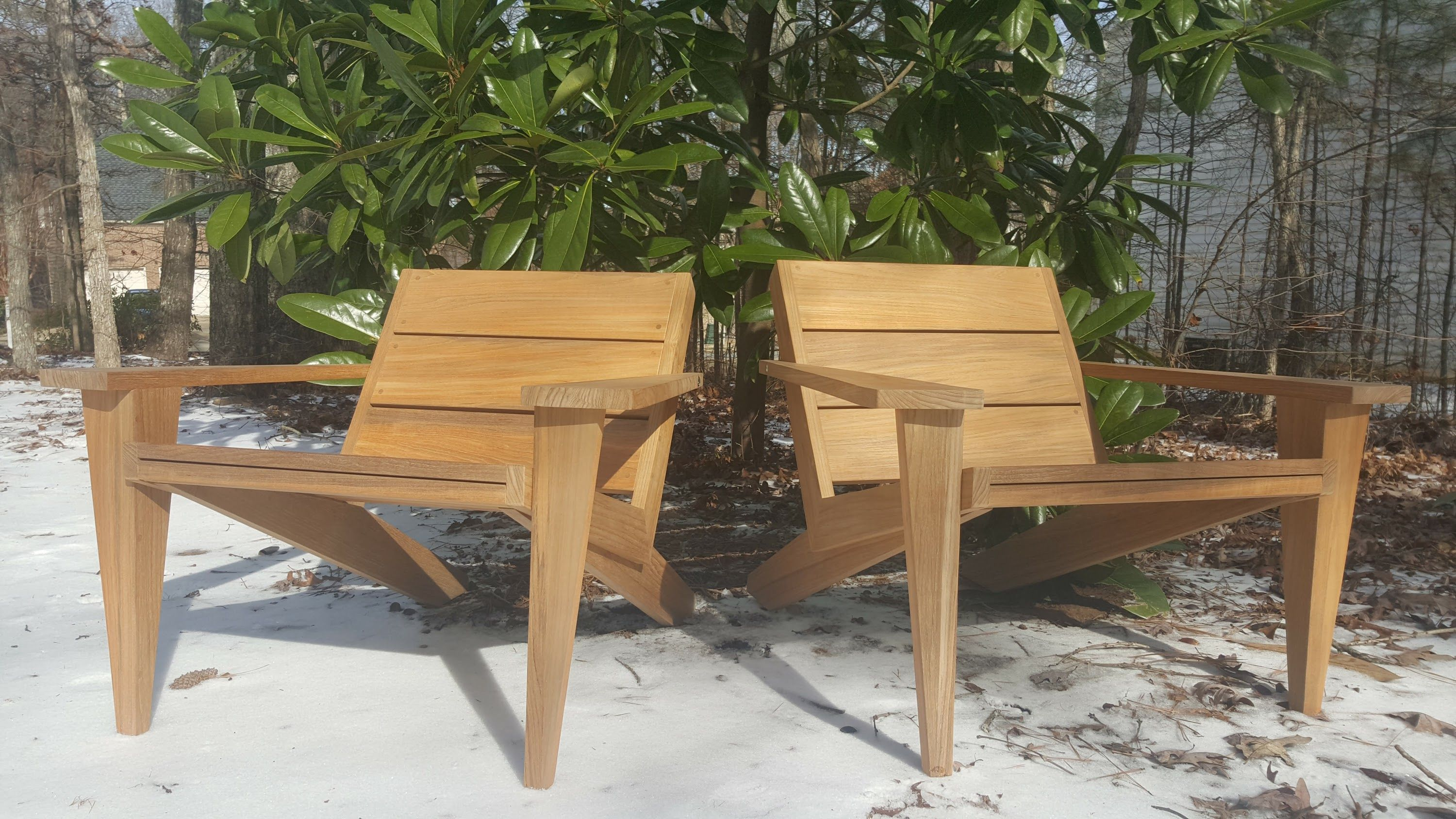Awe Inspiring Hand Crafted Modern Teak Adirondack Outdoor Lounge Chair Short Links Chair Design For Home Short Linksinfo