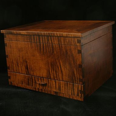 Custom Made Handcrafted Jewelry Box In Tiger Maple
