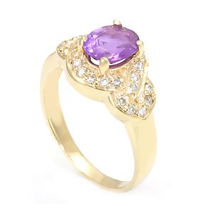 Custom Made Amethyst Diamond Ring In 14k Yellow Gold, Engagement Ring, February Birthstone Ring