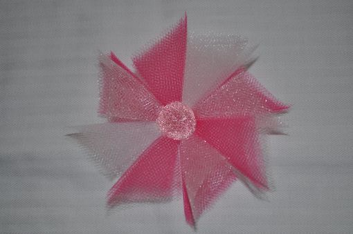 Custom Made Custom Tulle Pinwheel Flower On Clip, Ages Newborn To Adult. Free Usa Shipping.
