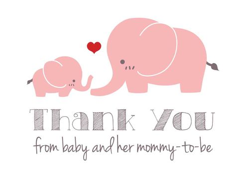 Custom Made Pink Elephant Baby Shower Thank-You Cards - Set Of 10