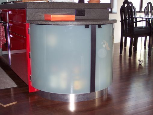 Custom Made Curved Glass End Cabinet