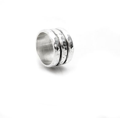 Custom Made Wide Mans Ring - Hammered Mens Ring - Plain Ring - Three Rings - Stack Rings - Masculine Band