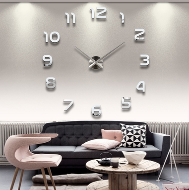 Custom Made Acrylic Mirror Home Decoration Large Wall Clock 3d