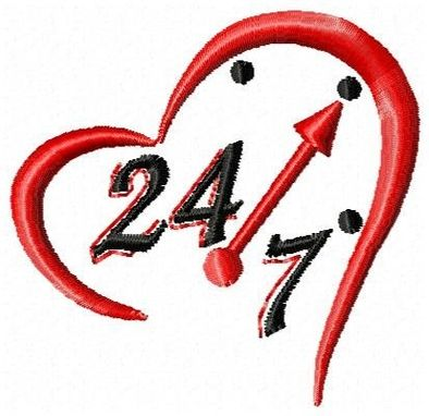 Custom Made 24/7 Heart Embroidery Design