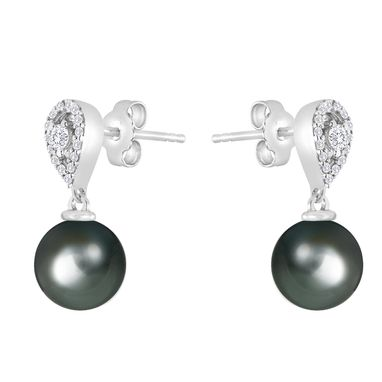 Custom Made Black Tahitian Pearl Earring With Diamond Accent, In 14kt White Gold