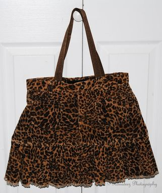 Custom Made Upcycled Corduroy Leopard Print Skirt Bag / Brown & Black