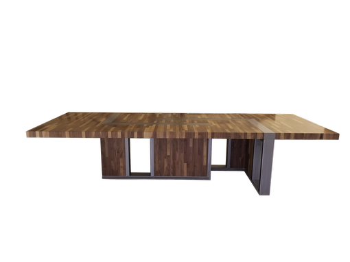 "Custom Made 13"" Walnut And Steel Conference Table"
