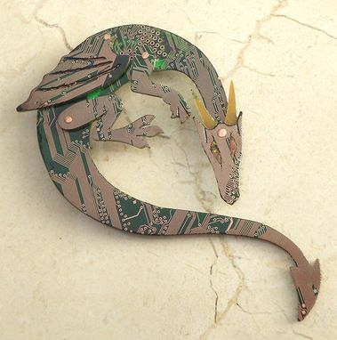 Custom Made Circuit Board Dragon Brooch