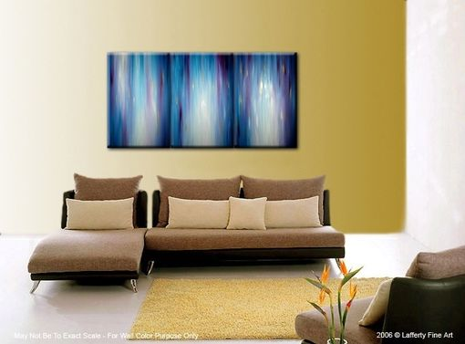 Custom Made Abstract Blue Painting, Purple Painting, Gold Original Textured Art By Lafferty - 36x72