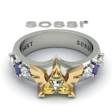 Custom Made Best Legend Of Zelda Zoras Triforce 10k White Gold Ring  Engagement Sapphire & Diamond 1.15 Ct