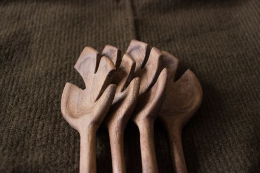 Custom Made Handmade Walnut Salad Servers (Sold In Set Of 2)
