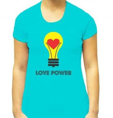 Custom Made Light Bulb Tshirt Print- Blue Tshirt