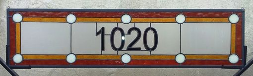 Custom Made Stained Glass Window Panel / Transom Window With House Number (Am-47)