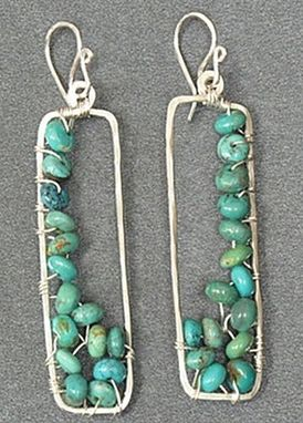 Custom Made Hammered Rectangles With Turquoise