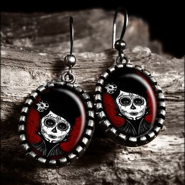 Custom Made Dia De Los Muertos Dead Girl Antique Silver Earrings 71-Soe