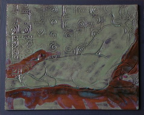 Custom Made Patterned Recline, Figurative, Clay Painting