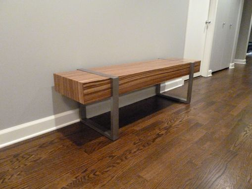 Custom Made Welded Modern Interior Zebra Wood Bench Seat