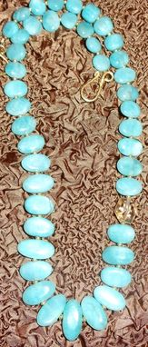 Custom Made Blue Heaven Necklace -Blue Amazonite And Citrine Accent - Unique One Of The Kind Necklace