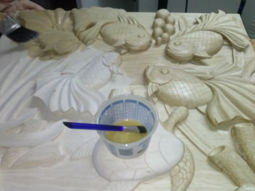 Custom Made Butterfly Koi Fish Deep Relief Carving
