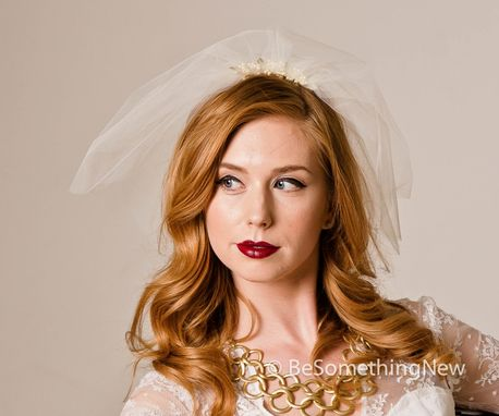 Custom Made Birdcage Netting Veil With Wired Pearls And Gold Leaves
