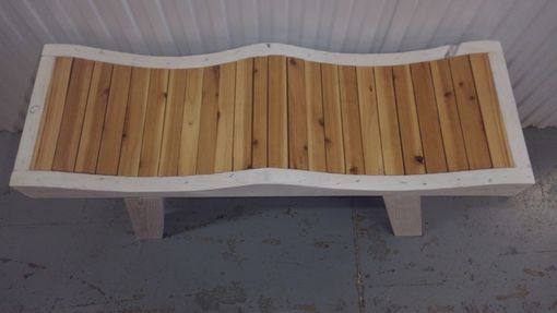 Custom Made Rustic Style Bench Washed White And Cedar.