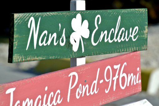 Custom Made Destination Shamrock Sign. Directional Sign Post. Wedding Gift Idea.