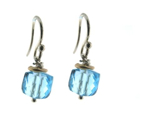 Custom Made Blue Topaz Cube Earrings
