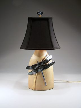 Custom Made Dragonfly Talbe Lamp With Silk Shade - Sculpted And Carved In Porcelain