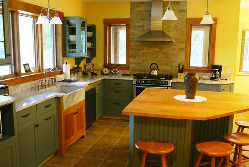 Custom Made Colorful Kitchen With Cherry Accents